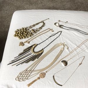 Big gold ball Guess cheetah heart tassel necklaces
